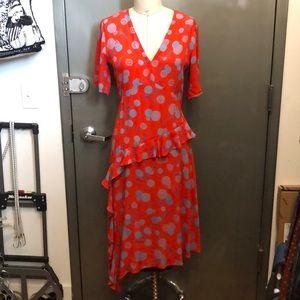 H&M Red print crepe v neck midi dress 8